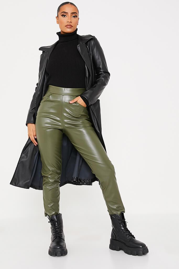 Khaki Faux Leather Pocketed Straight Leg Trousers