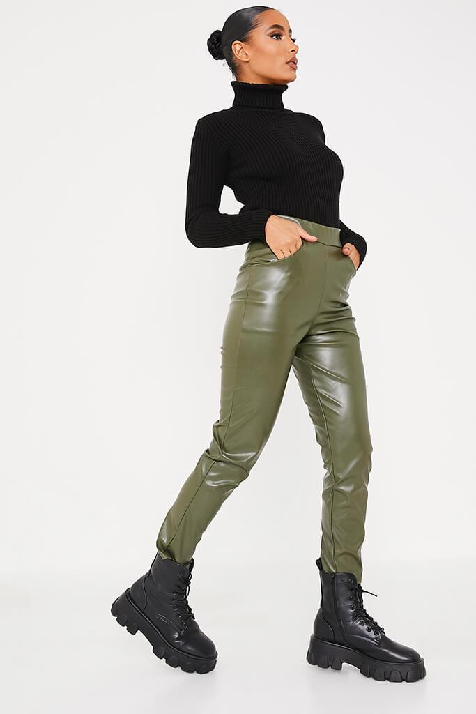 Khaki Faux Leather Pocketed Straight Leg Trousers view 3