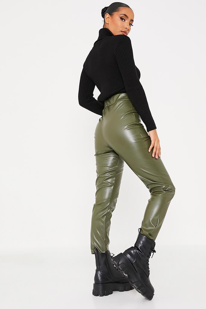 Khaki Faux Leather Pocketed Straight Leg Trousers view 4