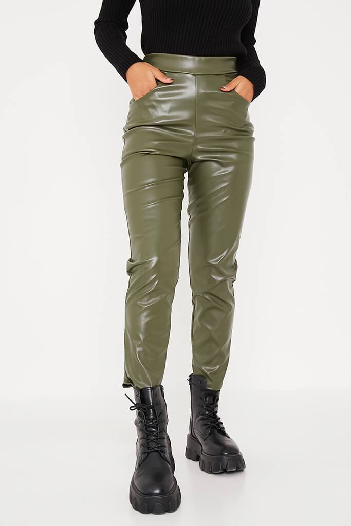 Khaki Faux Leather Pocketed Straight Leg Trousers view 2