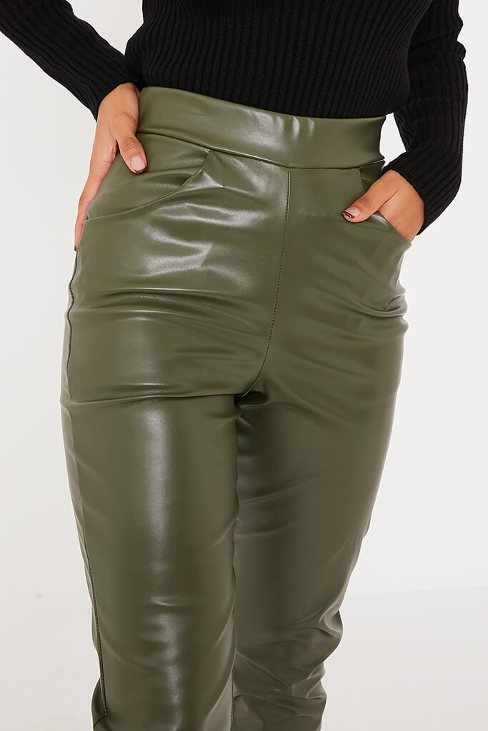 Khaki Faux Leather Pocketed Straight Leg Trousers view 5