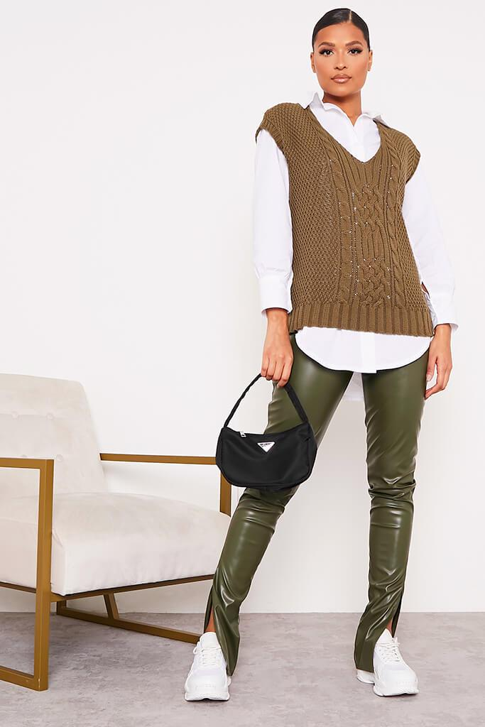 Khaki Faux Leather Split Side Leggings