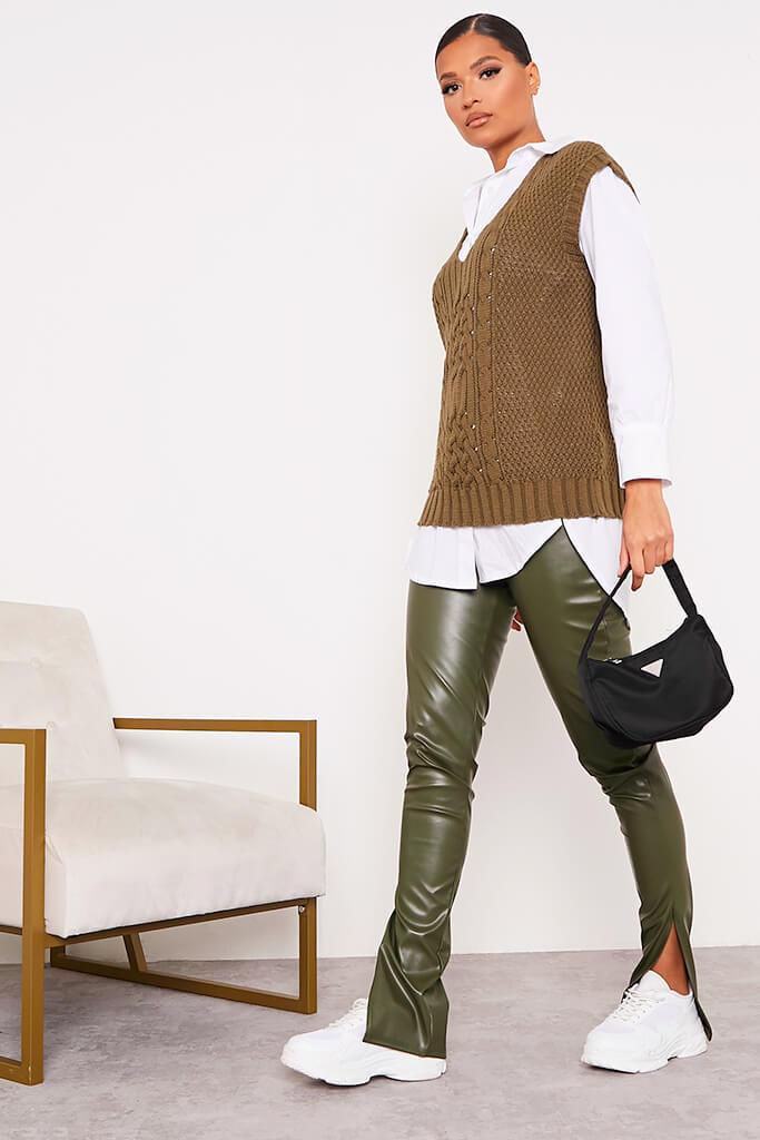 Khaki Faux Leather Split Side Leggings view 3