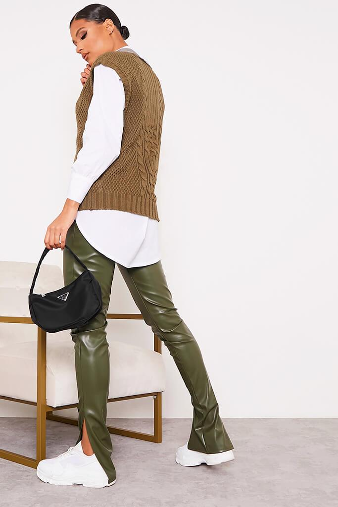 Khaki Faux Leather Split Side Leggings view 4