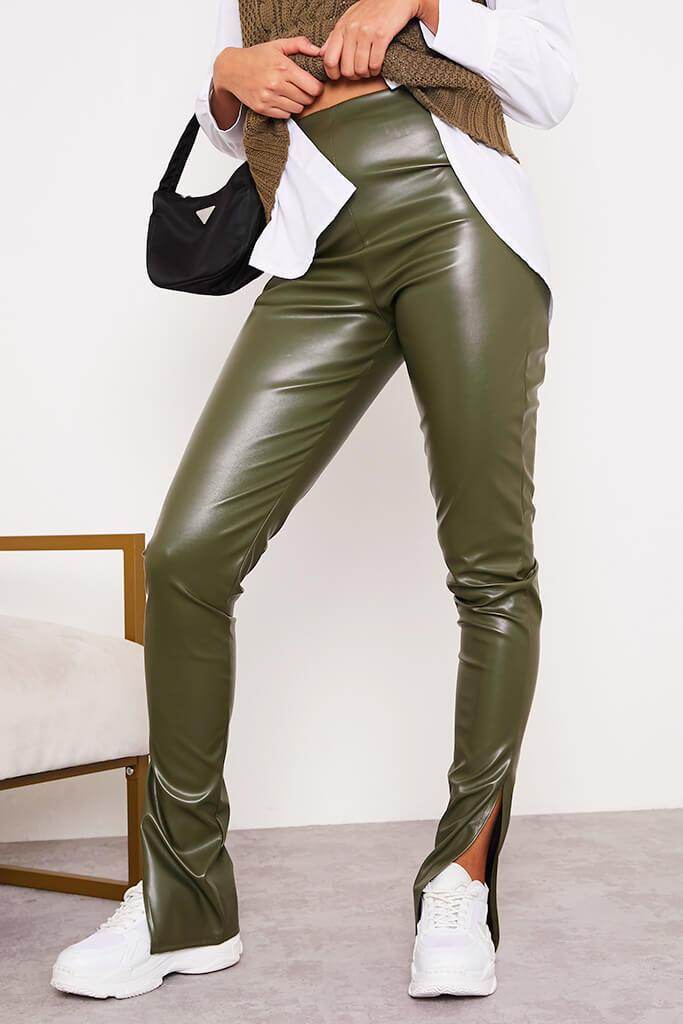 Khaki Faux Leather Split Side Leggings view 2