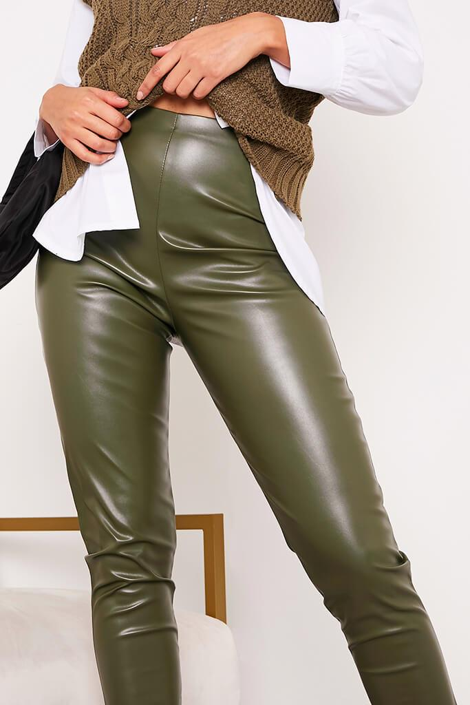 Khaki Faux Leather Split Side Leggings view 5