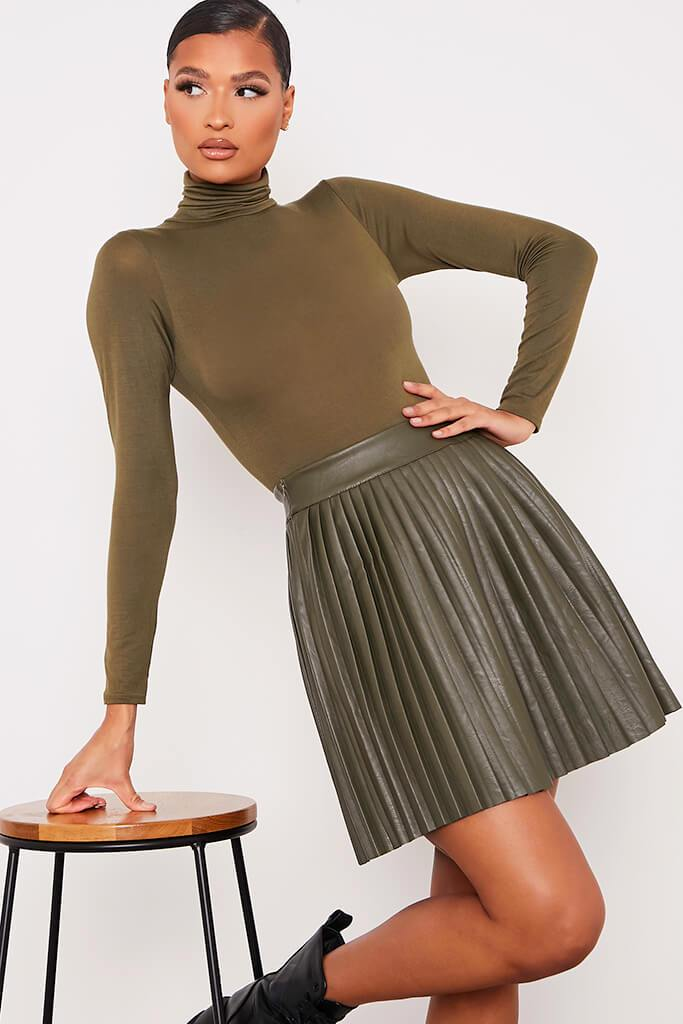 Khaki Faux Leather Pleated Mini Skirt