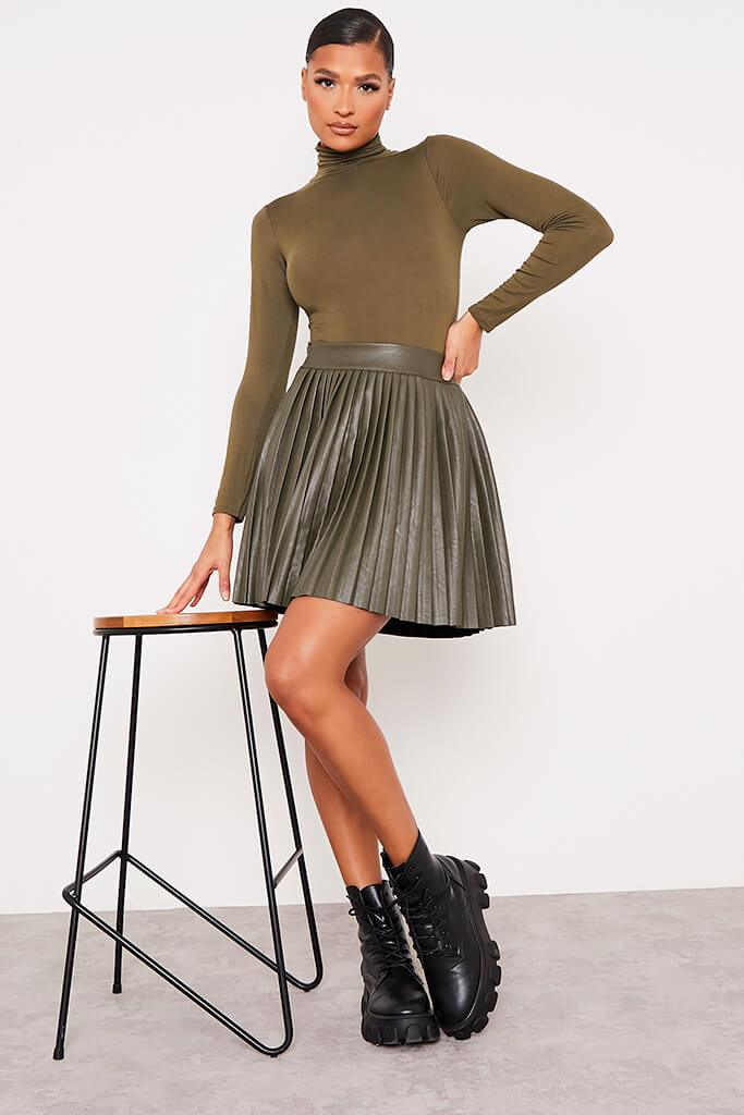 Khaki Faux Leather Pleated Mini Skirt view 2