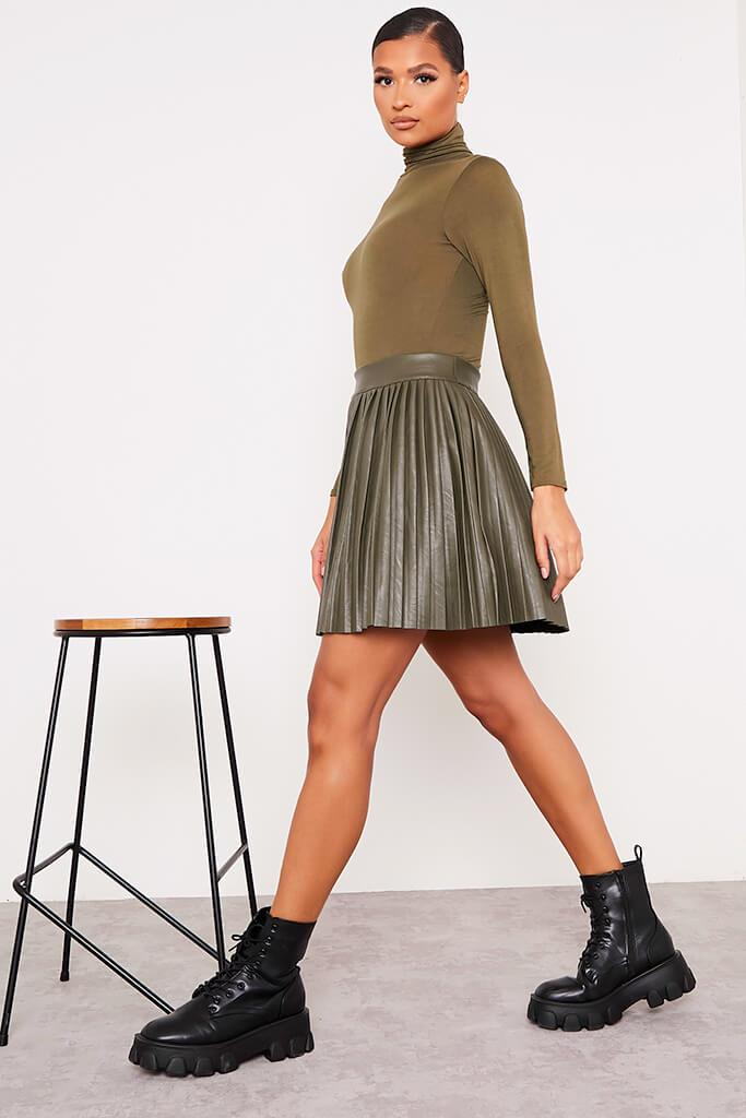 Khaki Faux Leather Pleated Mini Skirt view 3