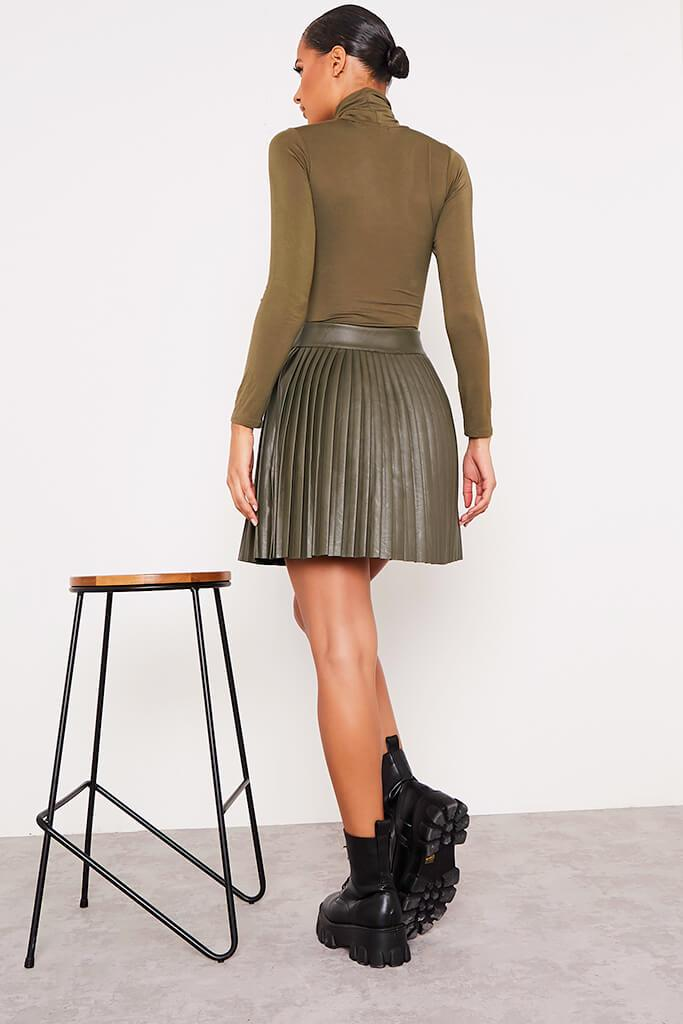 Khaki Faux Leather Pleated Mini Skirt view 4