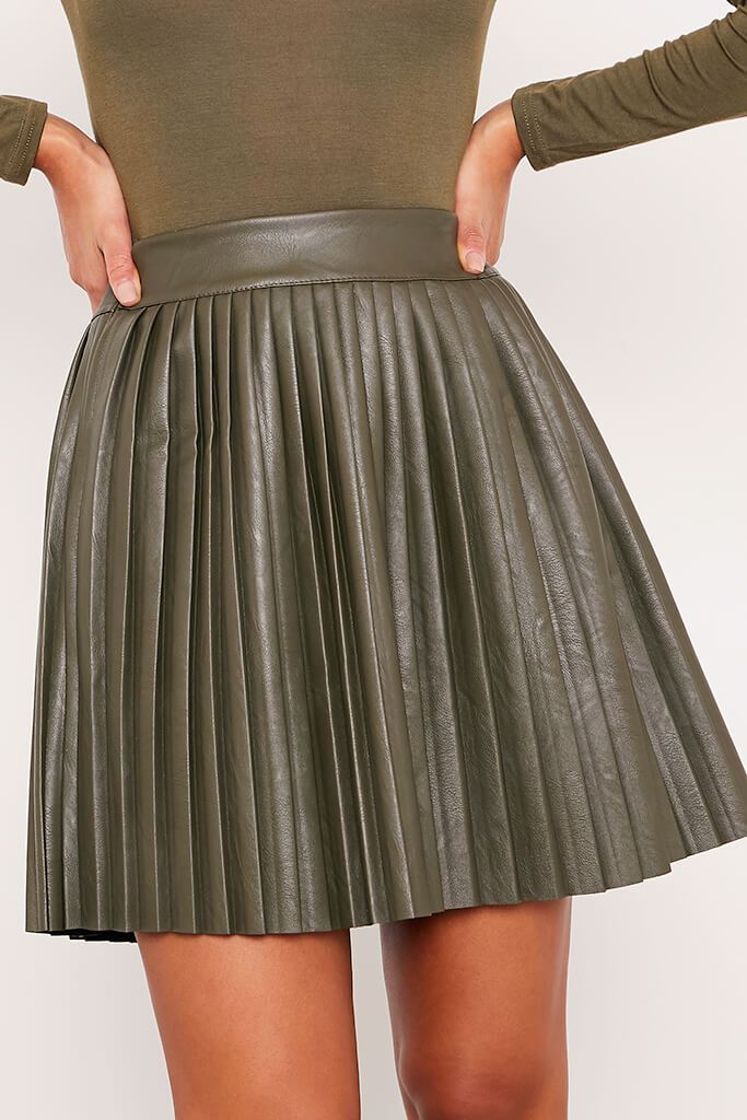 Khaki Faux Leather Pleated Mini Skirt view 5