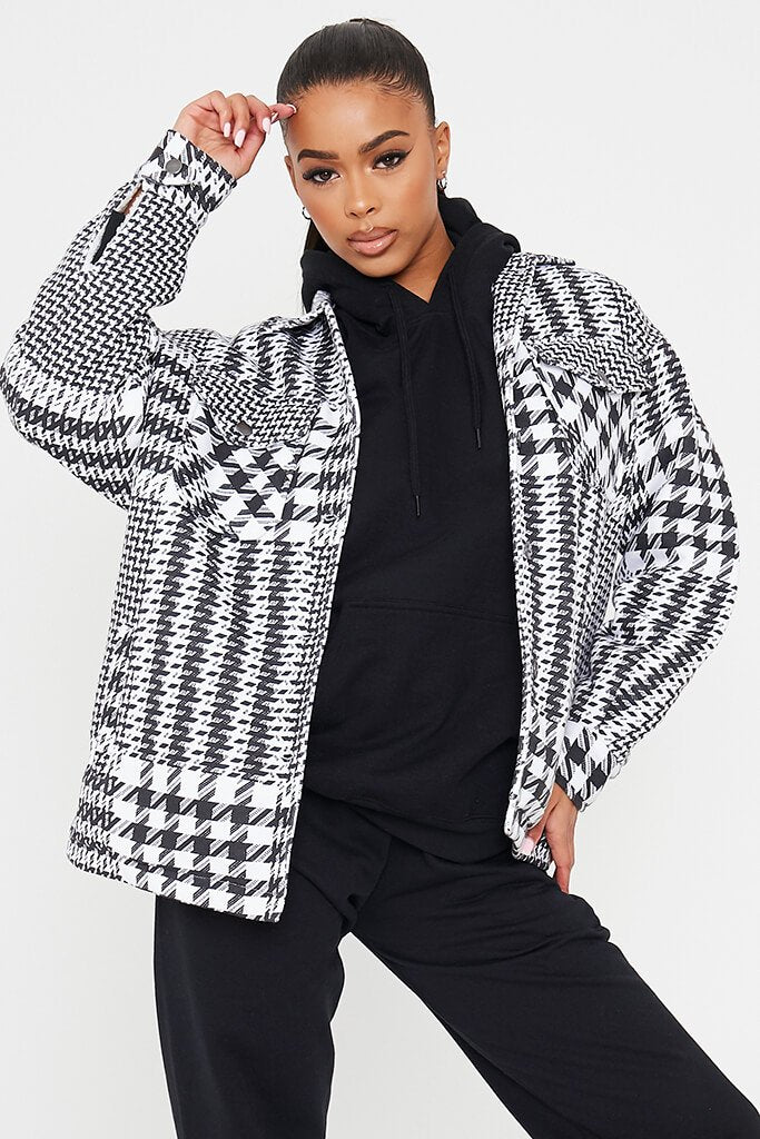 Black & White Dogstooth Checked Shacket