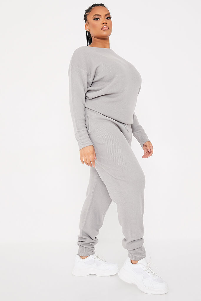 Grey Plus Size Slash Neck Knitted Jogger Set view 2