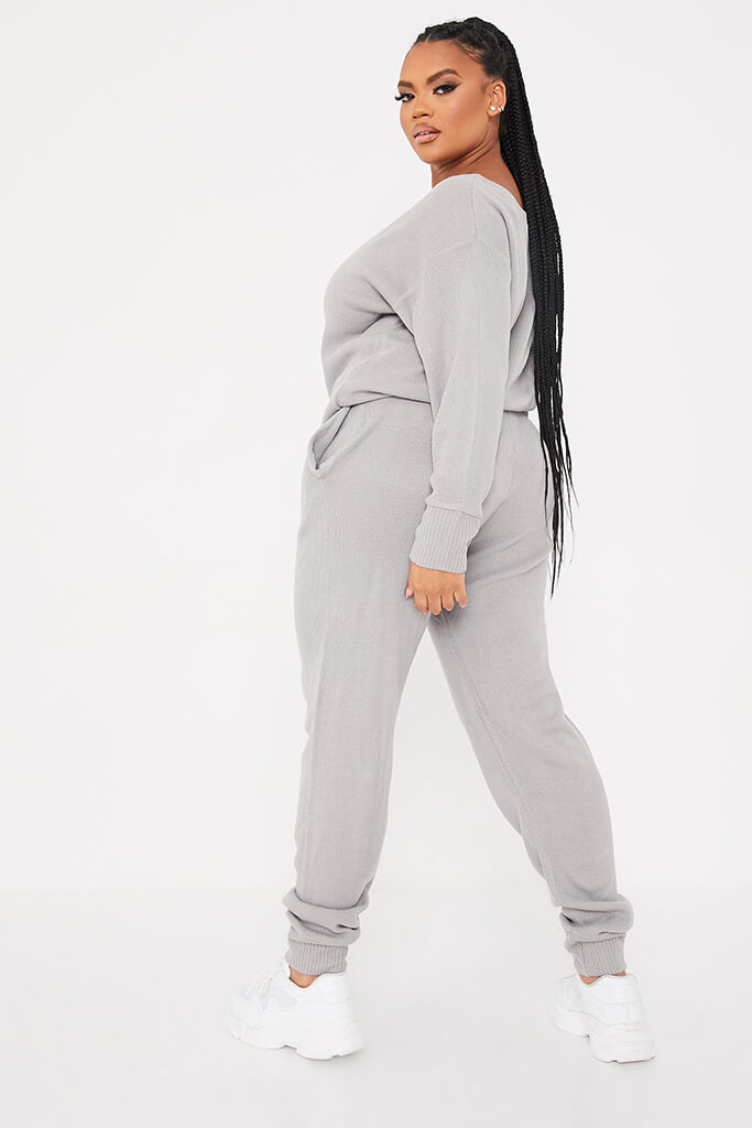 Grey Plus Size Slash Neck Knitted Jogger Set view 3