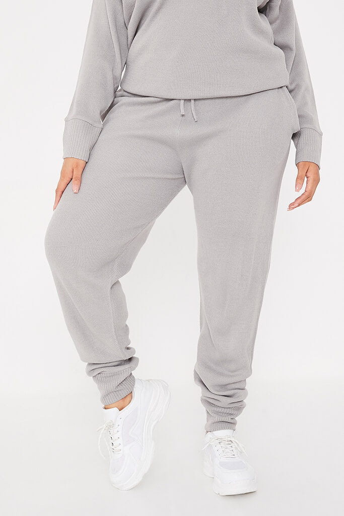 Grey Plus Size Slash Neck Knitted Jogger Set view 4