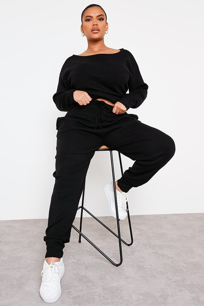 Black Plus Slash Neck Knitted Jogger Set view main view