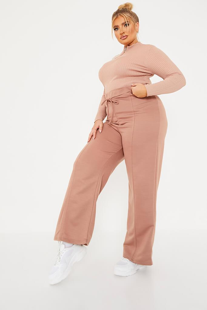 Dusky Pink Plus Size Ribbed High Neck Zip Top view 3