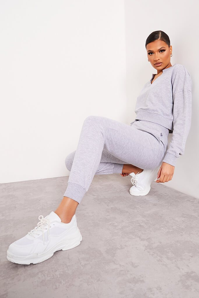 Grey Marl Notch Front Crop Sweat-Shirt And Joggers Set view 2