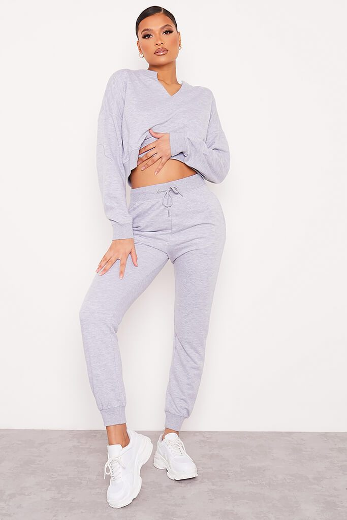 Grey Marl Notch Front Crop Sweat-Shirt And Joggers Set