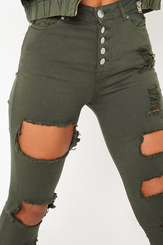 Khaki 5 Button Ripped Skinny Jeans view 5