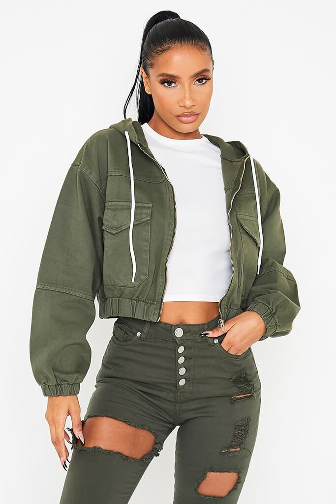 Khaki Hooded Denim Bomber Jacket