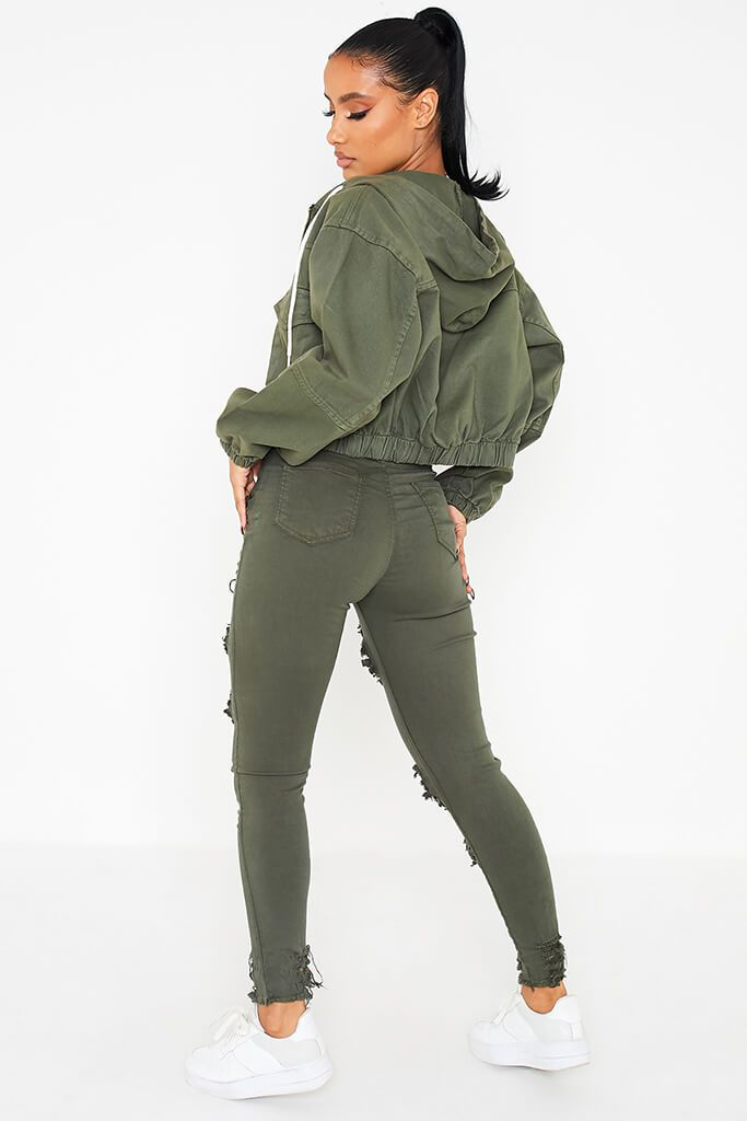 Khaki Hooded Denim Bomber Jacket view 4
