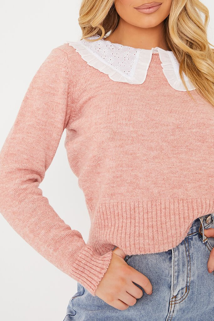 Dusky Pink Knitted Jumper With Broderie Anglais Collar view 5