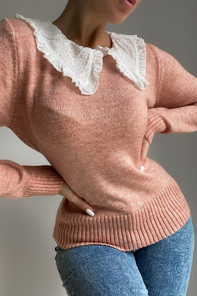Dusky Pink Knitted Jumper With Broderie Anglais Collar