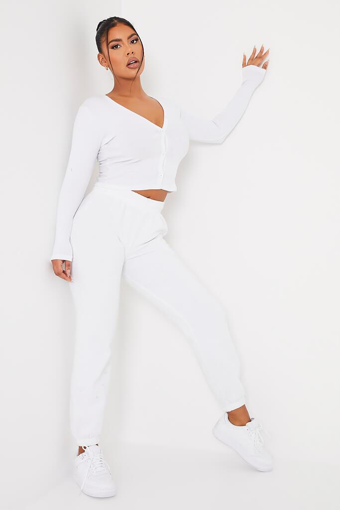 White Ribbed Button Front Long Sleeve Top view 2