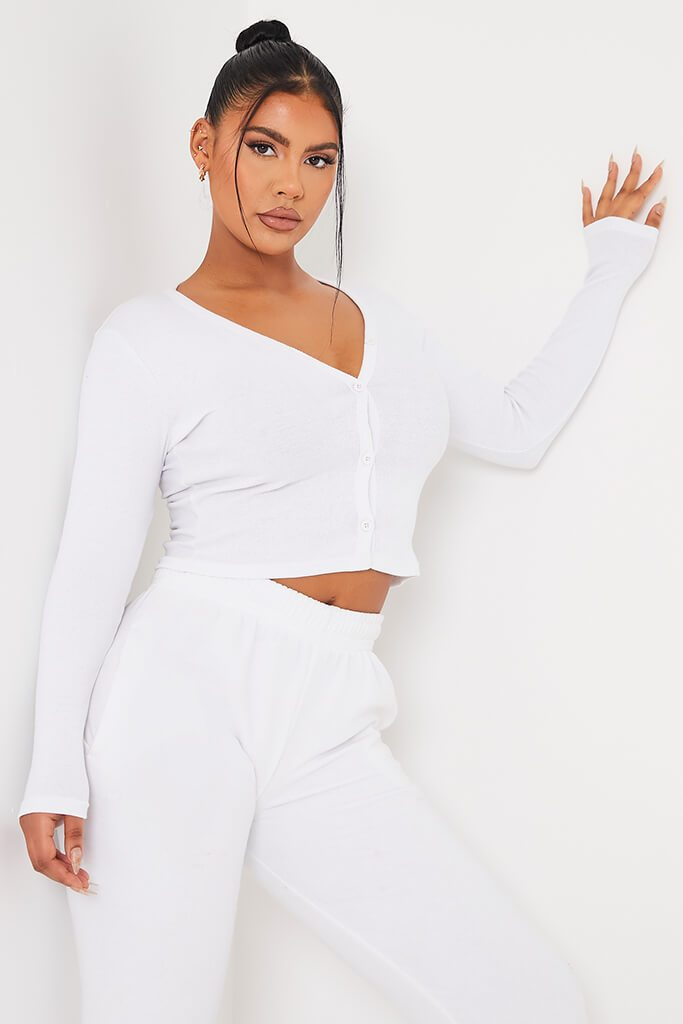 White Ribbed Button Front Long Sleeve Top
