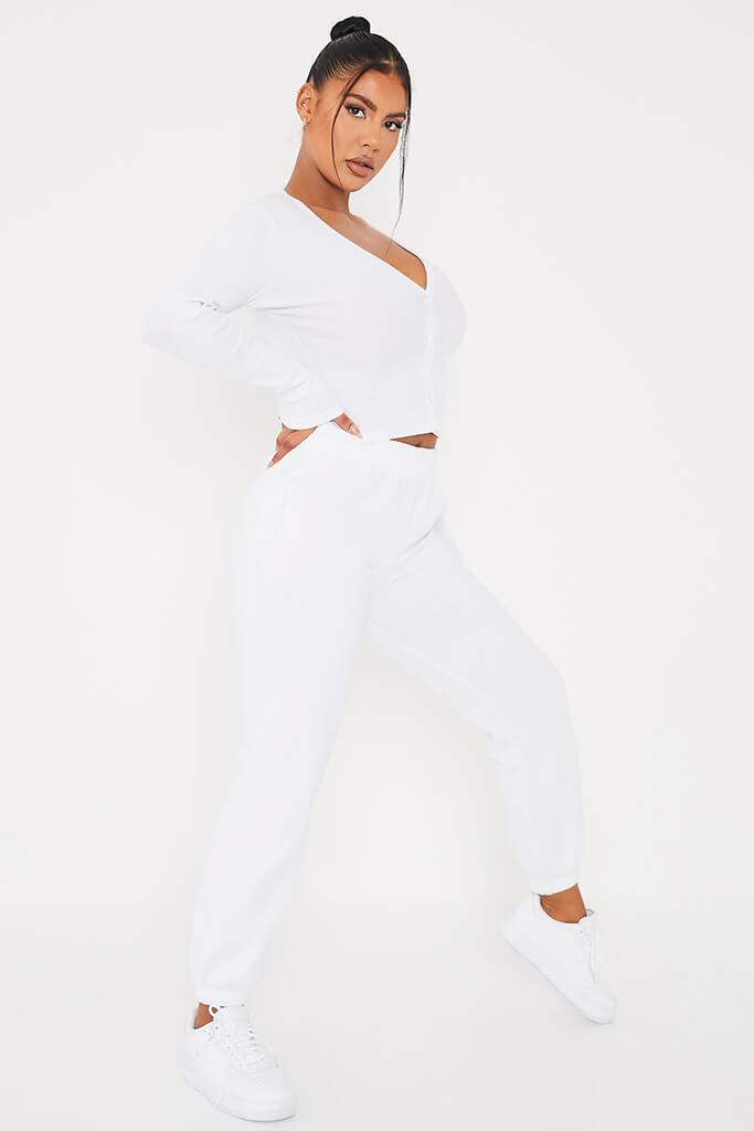 White Ribbed Button Front Long Sleeve Top view 3