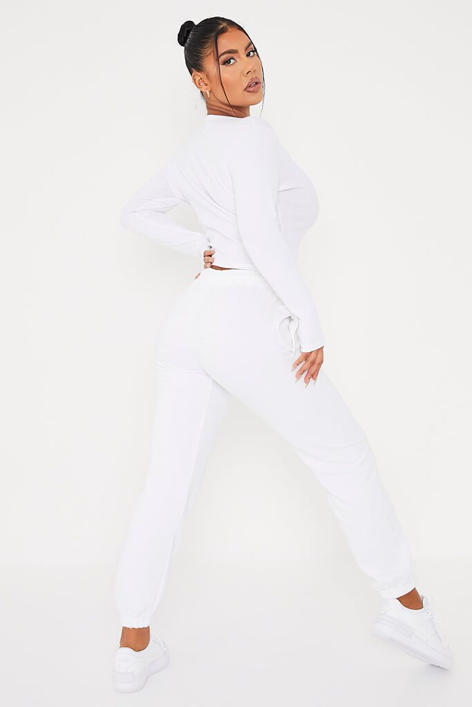 White Ribbed Button Front Long Sleeve Top view 4