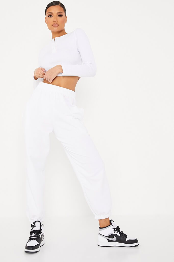 White Rib Button Front Detail Long Sleeve Crop Top view 2