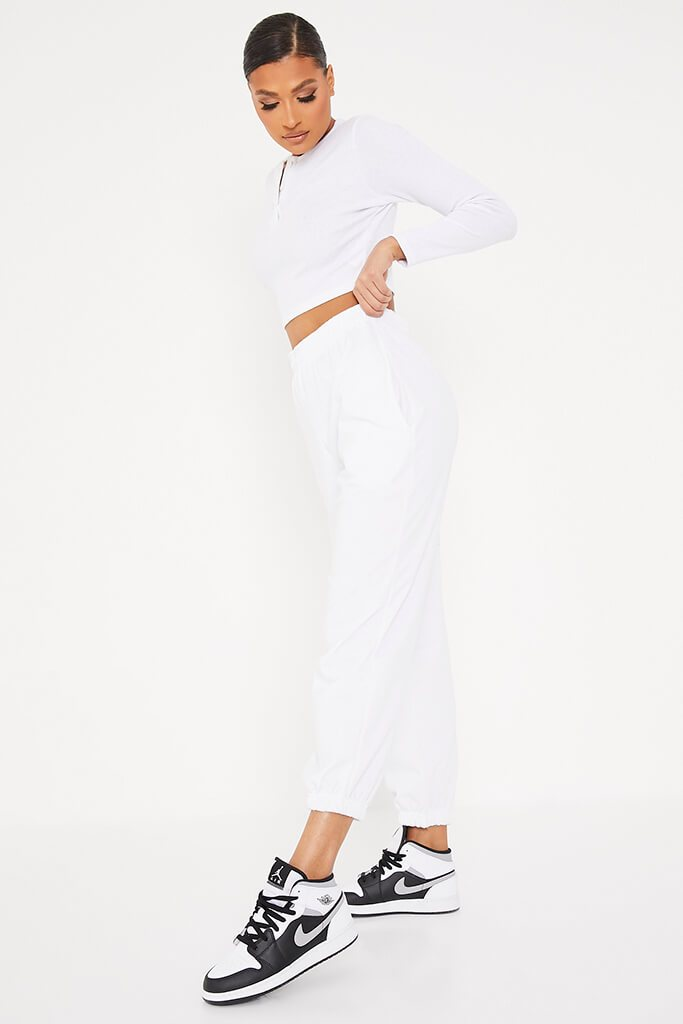 White Rib Button Front Detail Long Sleeve Crop Top view 3