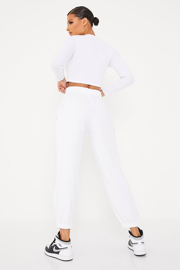 White Rib Button Front Detail Long Sleeve Crop Top view 4