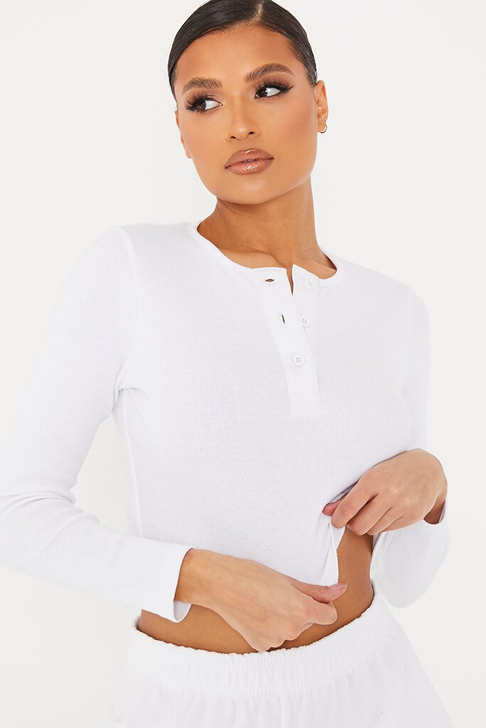 White Rib Button Front Detail Long Sleeve Crop Top view 5