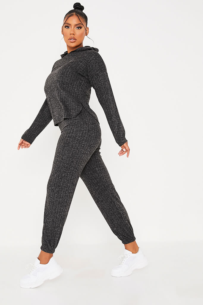 Black Knitted Rib Hoodie And Jogger Set