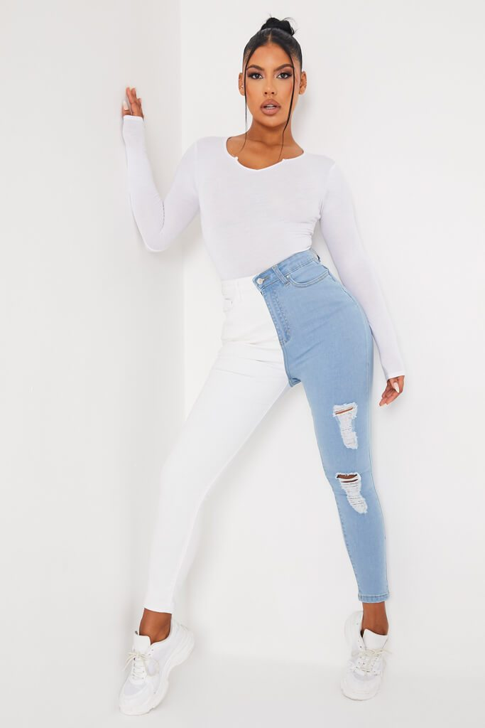 White Colour Block Stretch Skinny Jean
