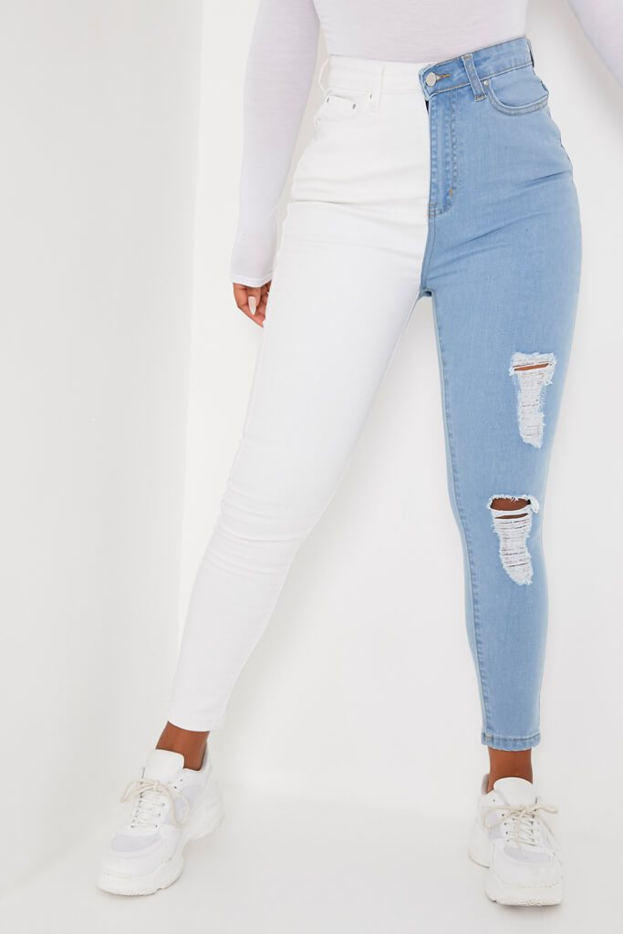 White Colour Block Stretch Skinny Jean view 2