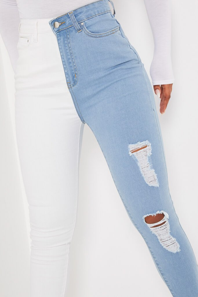 White Colour Block Stretch Skinny Jean view 5
