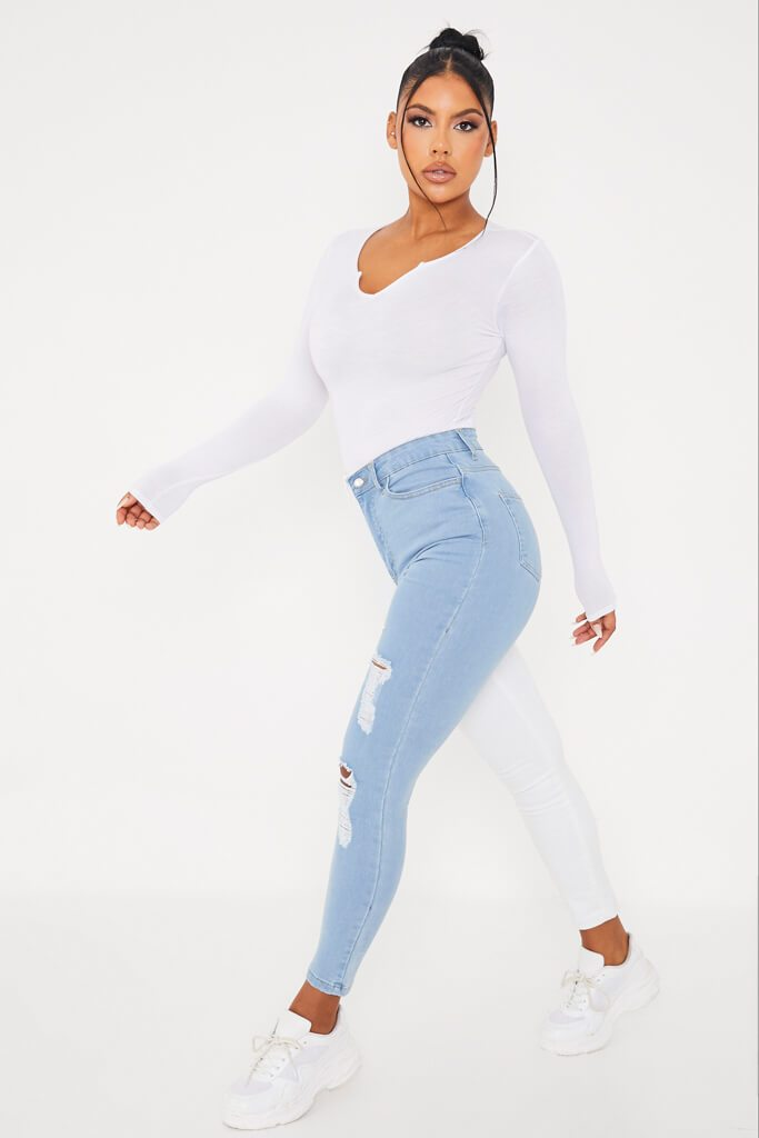 White Colour Block Stretch Skinny Jean view 3