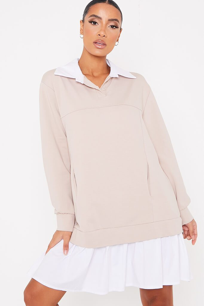 Stone 2 In 1 Sweat Jumper Shirt Dress view main view