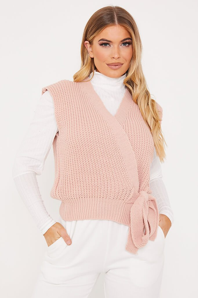 Pink Knitted Wrap Tie Side Vest