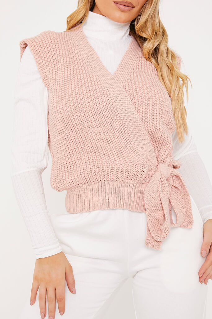Pink Knitted Wrap Tie Side Vest view 5