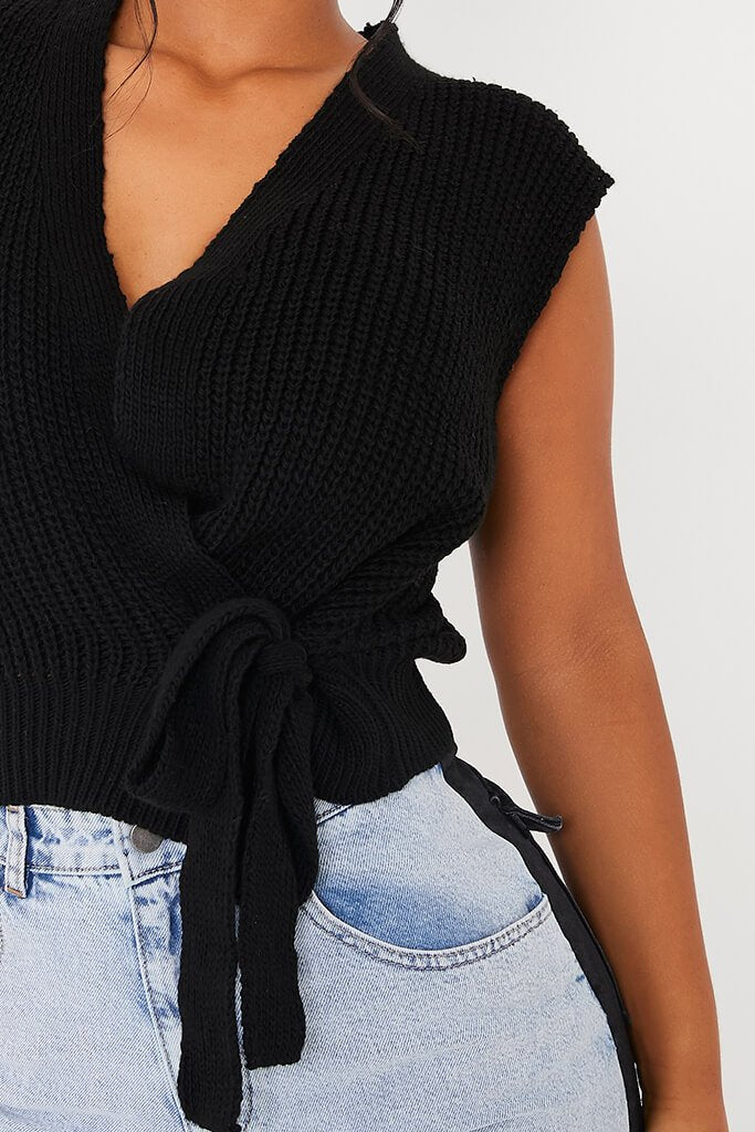 Black Knitted Wrap Tie Side Vest view 5