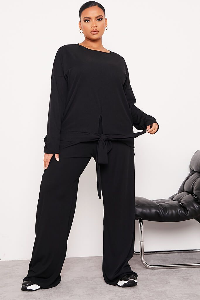 Black Plus Ribbed Wide Leg Trousers