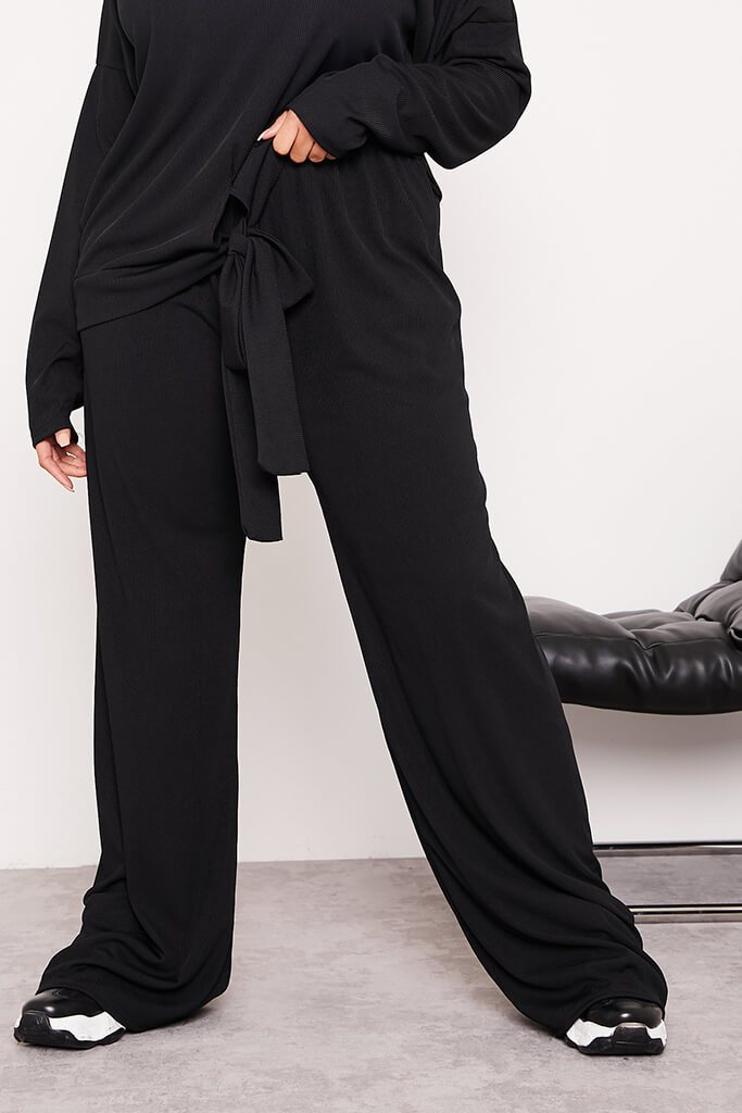 Black Plus Ribbed Wide Leg Trousers view 2