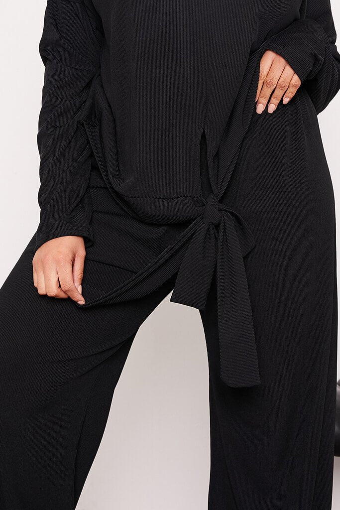 Black Plus Ribbed Wide Leg Trousers view 5