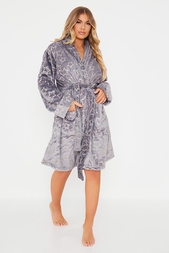 Grey Glitter Star Cosy Dressing Gown view 2
