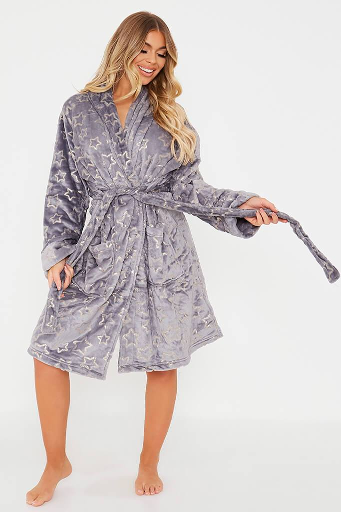 Grey Glitter Star Cosy Dressing Gown
